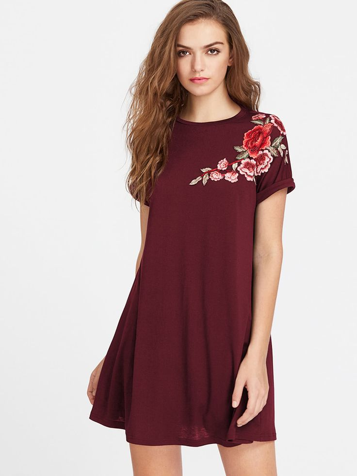 Shop Embroidered Flower Applique Swing Tee Dress Online