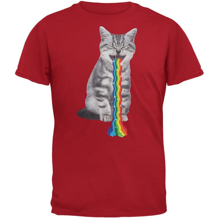 Rainbow Vomit Cat Adult T-Shirt