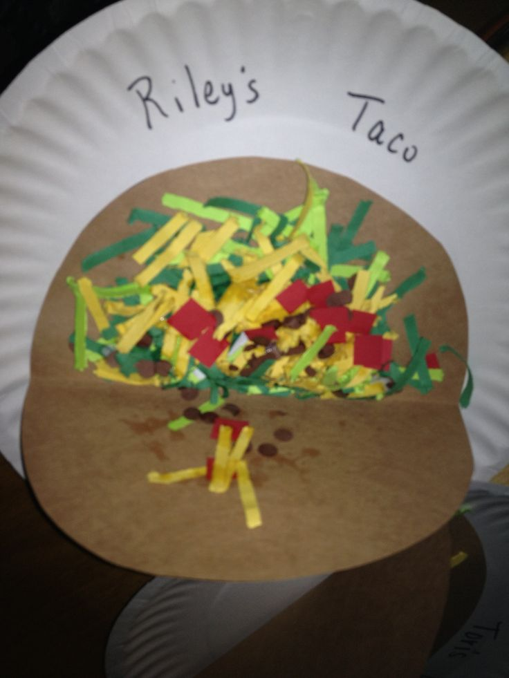 This is what my kids made today because we are talking about Mexico. It's shredded paper for the lettuce and cheese, red squares for toms and brown dots from a hole punch for ground beef!!