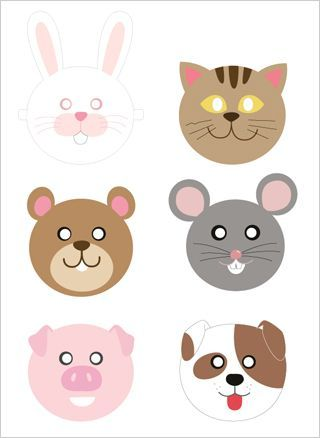 Free printable animal masks (Mr. Printables): Cute paper masks for birthday party favors (or to wear during the party) for a farm / barnyard theme, animal / zoo theme, Noah's Ark theme, pig party, puppy / dog birthday, teddy bear theme, cat / kitty party,