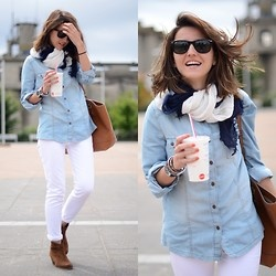 Gorgeous look: Day Outfits, Jeans Style, Street Style, Denim Shirts, Bi Alexandra, Fall Outfits, White Pants, Comfy Denim, White Jeans