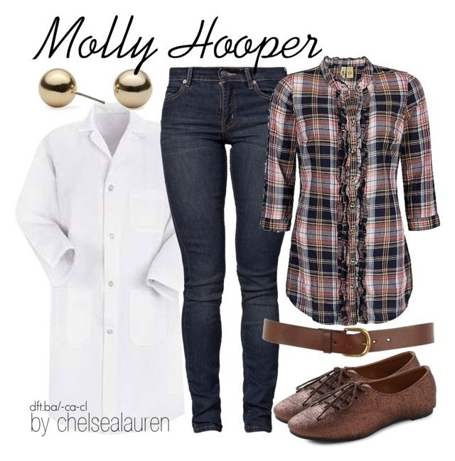 """""""Molly Hooper - Sherlock (BBC)"""" by chelsealauren10 ❤ liked on Polyvore featuring Lab, Cheap Monday, Betty Jackson, BKE, Warehouse, skinny jeans, plaid shirts, molly hooper, sherlock and lab coat"""