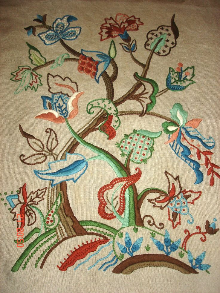 Lovely vintage antique jacobean crewel work embroidery on