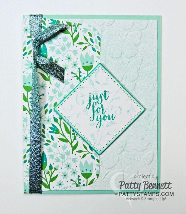 Stampin' UP! March 2016 Paper Pumpkin kit alternate card design idea with Fluttering Embossing folder by Patty Bennett