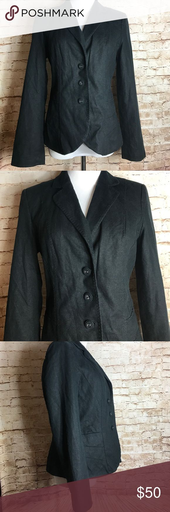 "✨MARKS & SPENCER✨ Marks and spencer womens blazer black linen button jacket size 12  Good Pre-owned condition No rips, tears, marks or stains Please see pictures for details   Laying flat  Armpit to armpit 19""  Full length 26"" Marks & Spencer Jackets & Coats Blazers"