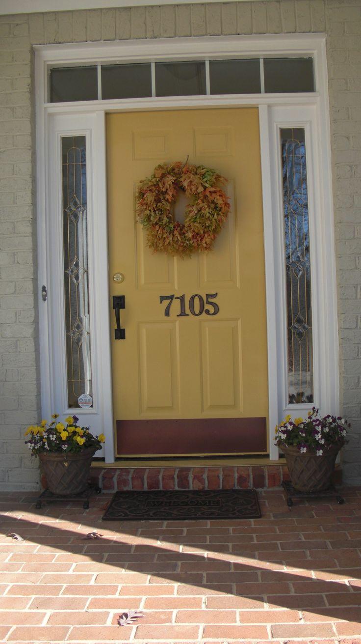 Red front door brown house - Love The Honey Yellow Front Door And House Number