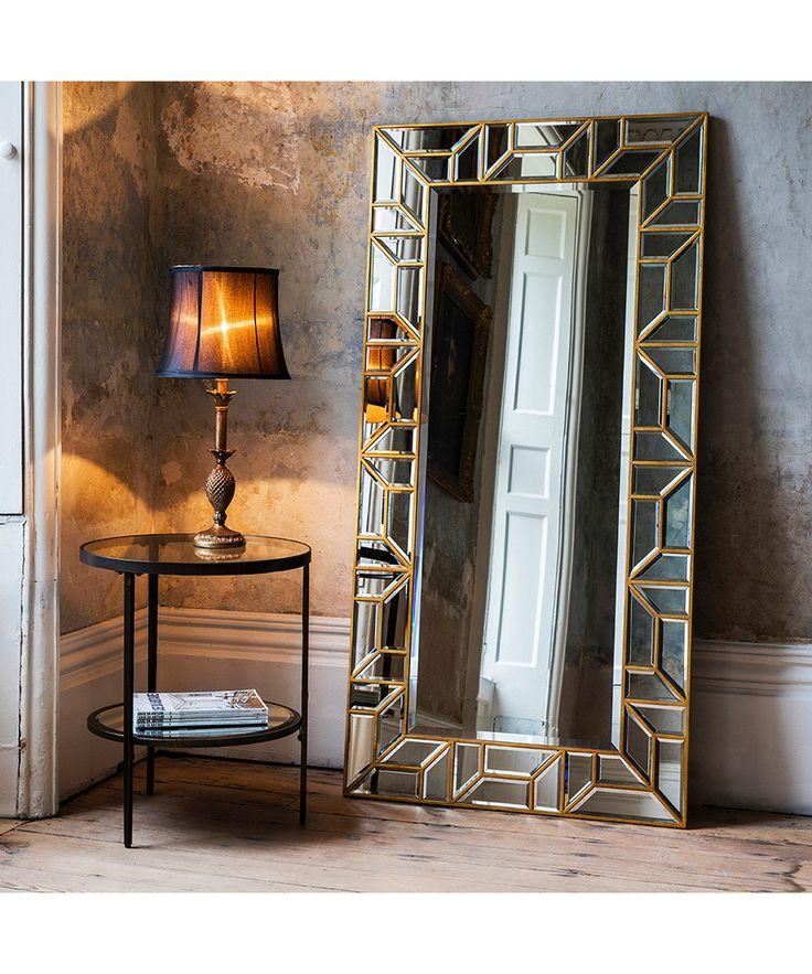 Verbier gold tone leaner mirror sale gallery mirror for Glass floor mirror