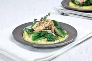 Polenta met gorgonzola, spinazie en gebakken oesterzwammen