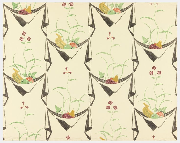 """Napkin and Fruit"" wallpaper design by Edward Bawden, 1926."