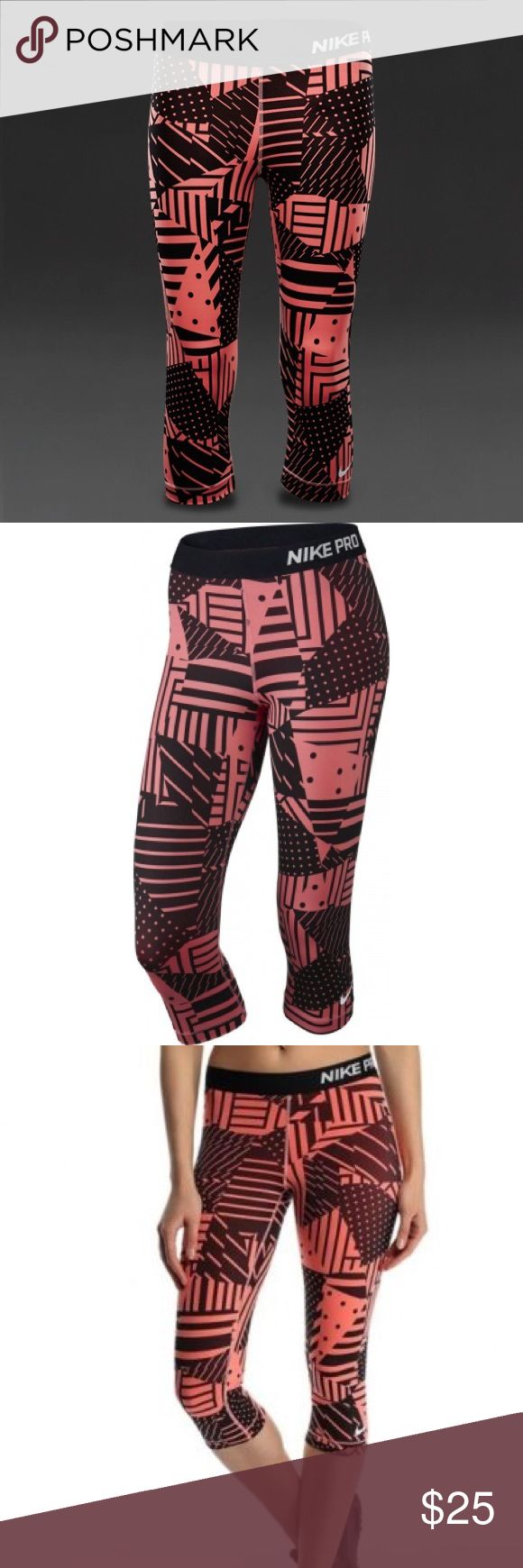 Nike Pro Capris/ leggings Nike Pro Patchwork Printed Women's Training Capris. Made with stretchy, Dri-FIT fabric with an Elastic Waistband. Perfect for intense workouts. Never worn Nike Pants Leggings