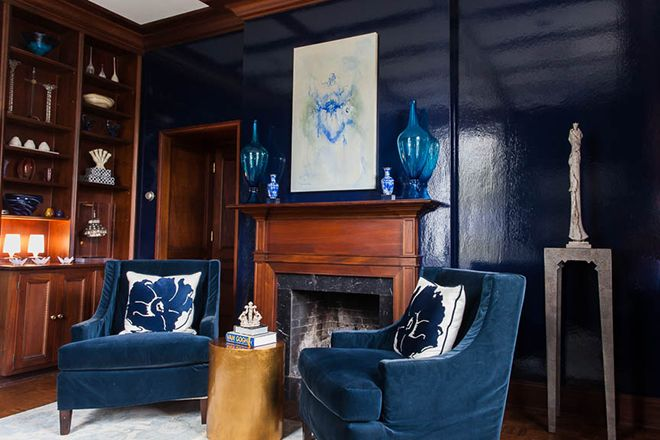 Incredible library by Nancy Price Interior Design in Jackson, MS. as seen in: True Blue Color Story in TSG Jackson. THE SCOUTED LIFE IN JACKSON, MS