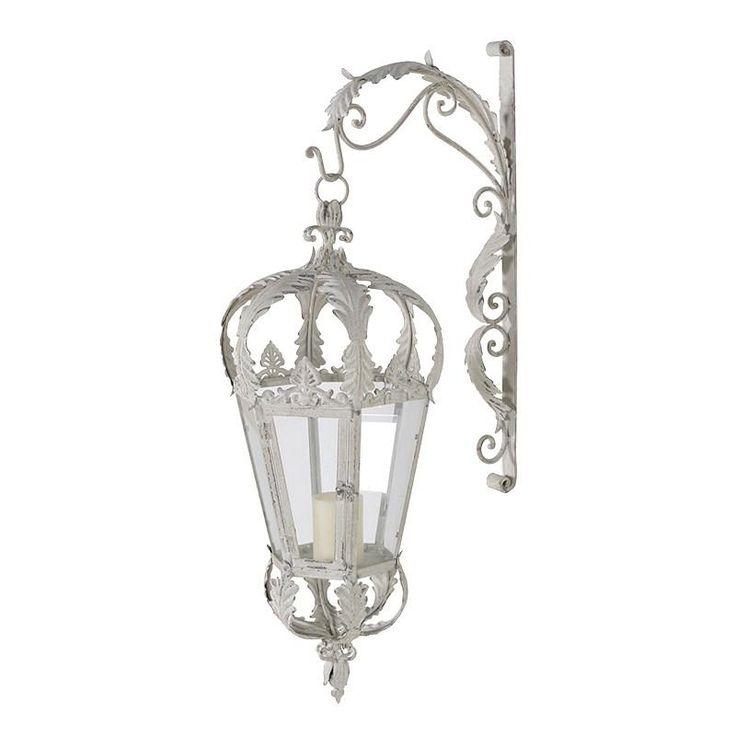 xl cream metal hanging lantern with wall bracket wall on wall brackets id=72669