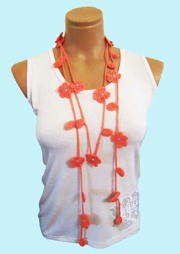 Crochet flower necklace-scarf Ожерелье крючком