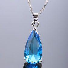 Lady Fashion Jewelry 25Mm Aquamarine Topaz Silver Ton Pendant Necklace Gift