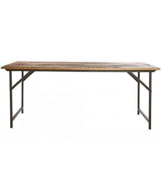 Housedoctor Eettafel 'Party' grijs metaal/hout bruin 180x80x74 cm - wonenmetlef.nl