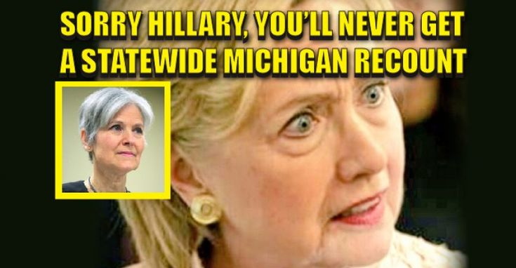 "Sorry, Kil LIAR y, Your Michigan Recount Will Never Happen and Here's Why. We all know  that Green Party candidate Jill Stein was not the ""power player"" of the recount. She's the flunkie. Evidence must be provided of fraud or systematic error in every MI county to initiate a statewide recount."