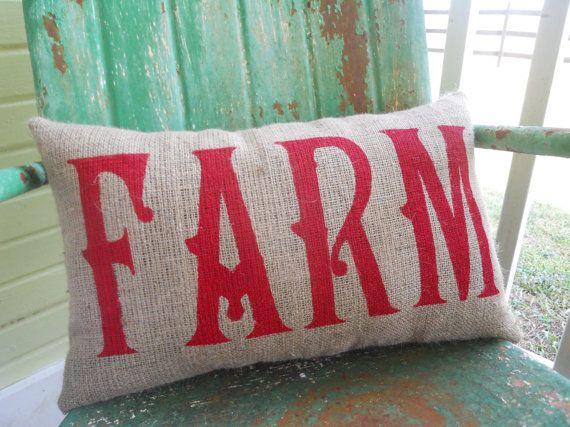 Painted Burlap FARM Throw Accent Pillow Custom by TakeFlyteFarm, $24.00