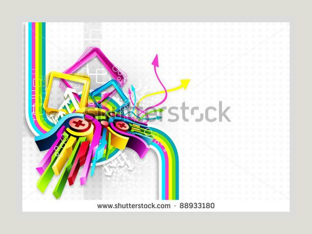 Illustration of colorful abstract shape on white background