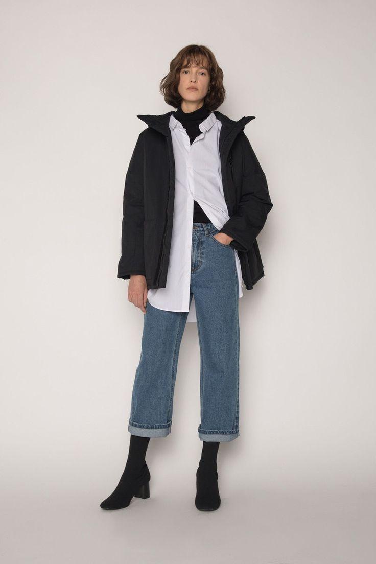 OAK + FORT Black Winter Parka Jacket Escape the Cold Down Minimal Sleek Outerwear