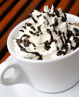 Cafe mocha with whipped cream