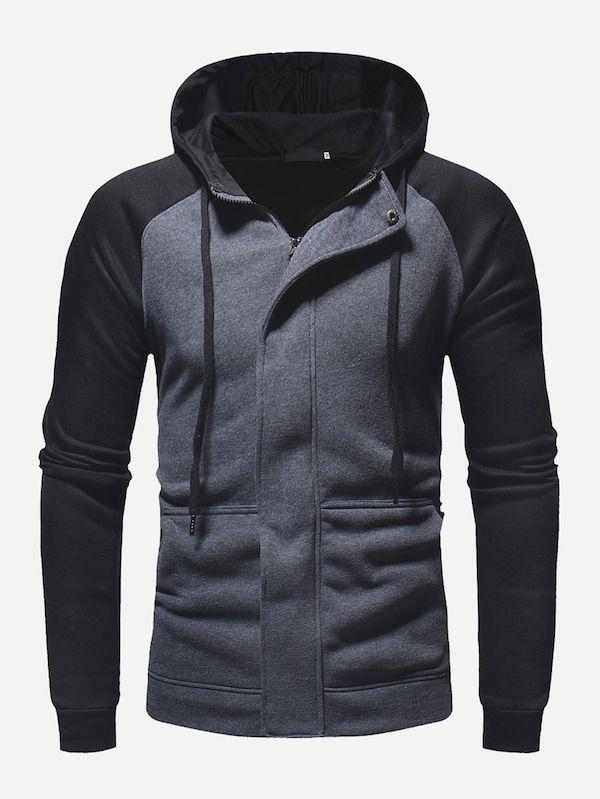 241c879c52 Men Cut And Sew Panel Hooded Jacket -SheIn(Sheinside) | men | Hooded ...