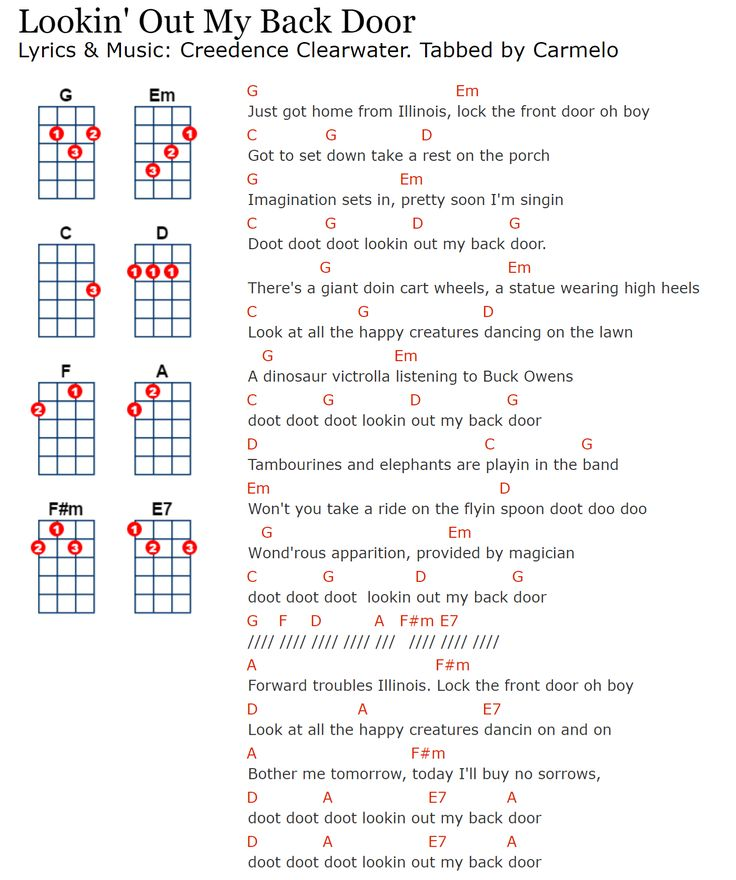 creedence-clearwater-looking-out-my-back-door | Carmelo\'s Ukulele ...