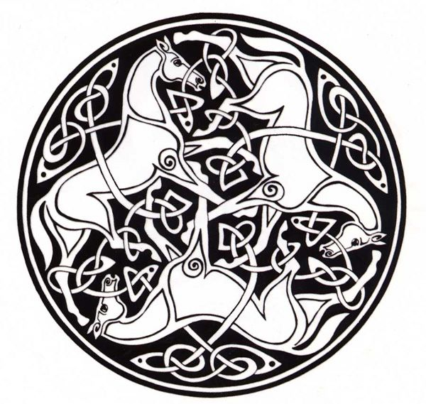 Drawing of entwined horses and Celtic knotwork