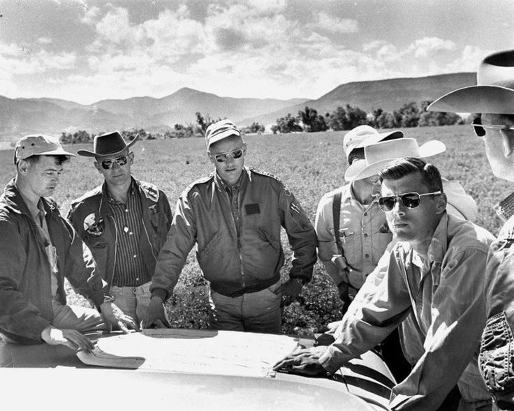 Pictured here: American Optical sunglasses worn by Astronauts Neil Armstrong, Al Bean and Roger Chaffee, Pre-Moon Mission geology training, early 60s.