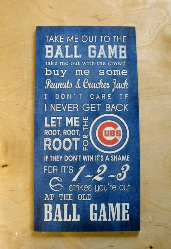 Chicago Cubs Take Me Out to the Ballgame Wood Print by ColorWerks