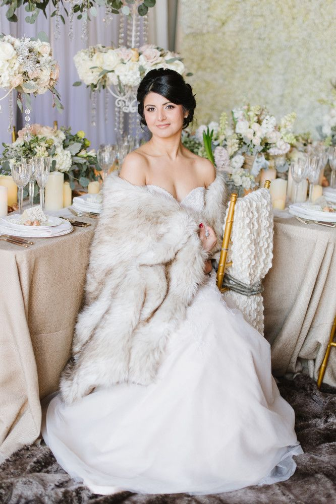 Winter Wedding Inspiration With Faux Fur Sparkle And Floral Chandeliers From Intrigue Designs In Annapolis Maryland