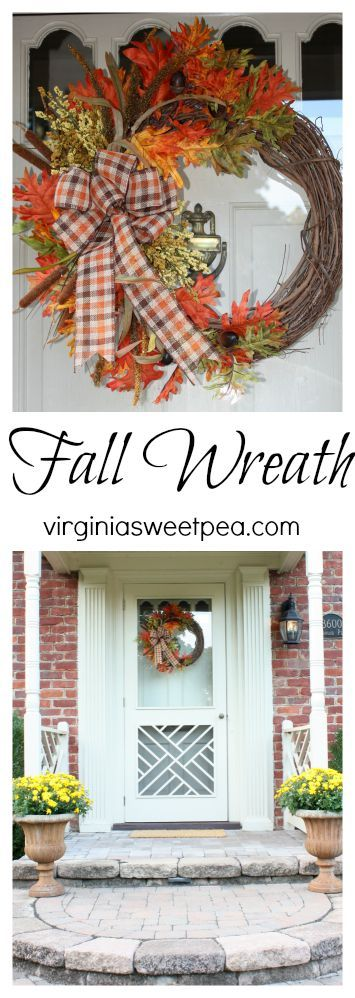 Up your home's fall curb appeal with a pretty fall wreath.  virginiasweetpea.com
