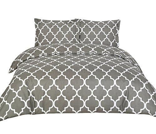 Duvet Covers (Queen Grey) 3 Piece Set Duvet Cover  2 Pillow Shams Hotel Quality Brushed Microfiber by Utopia Bedding