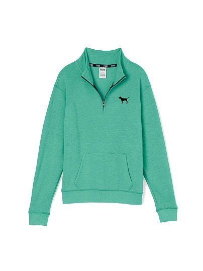 Boyfriend Half-Zip 32.99 PINK JS-329-279 BURGANDY-(L44) WHITE-(92W) DARK PINK-69G) GREY-(5YW) DEEP BLUE-(5NS) BLACK-(4MT) The Half-Zip pullover you love with a mock turtleneck and a slouchier, oversized fit! Fall in love with the Boyfriend update with a longer, tunic length. Must-have sweats by Victoria's Secret PINK. Oversized Print graphics Mockneck Cozy, supersoft fleece Kangaroo pockets Longer, tunic length Imported cotton/polyester