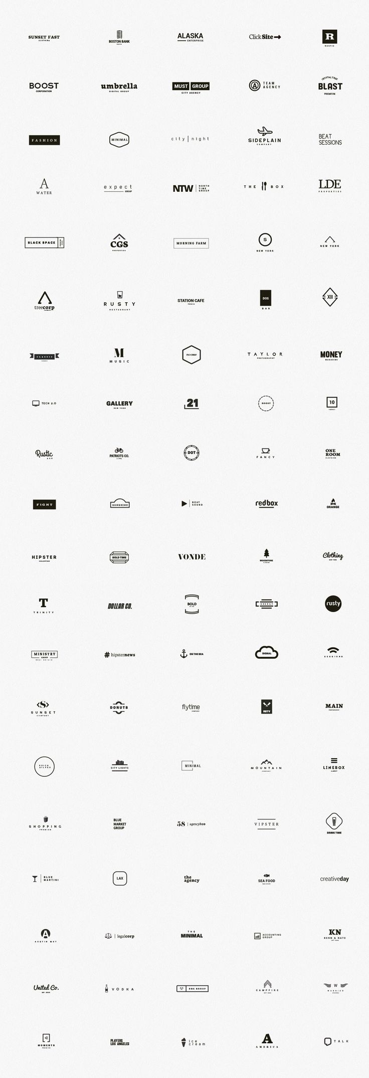 A premium kit of 100 minimal logos designed by DesignDistrict.