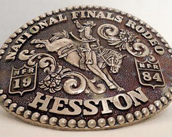 1984 Hesston National Finals Rodeo Commemorative Belt Buckle, Saddle Bronc Rider, NRF 1984, Fred Fellows Commemorative, Western Collectibles