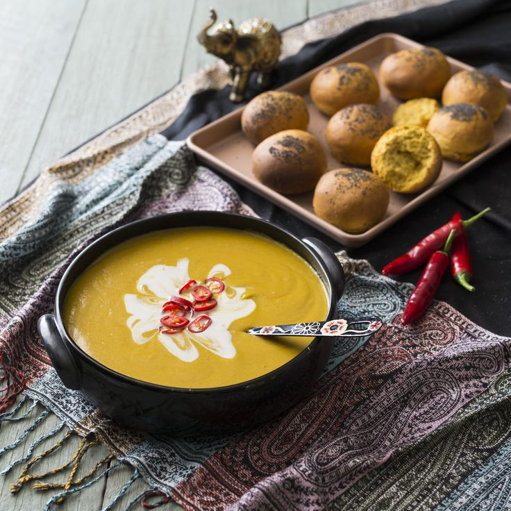 Thermomix | Indian spiced sweet potato soup | Flavours of India | Cookbook & recipe chip |