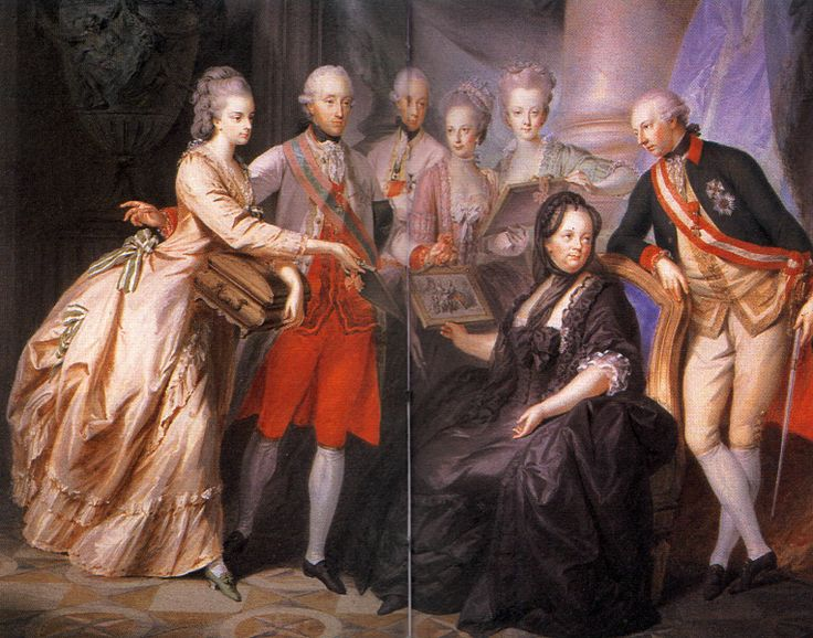 1776 Austria - Maria Theresa of Austria - (13 May 1717 – 29 November 1780), Holy Roman Empress, with family in 1776