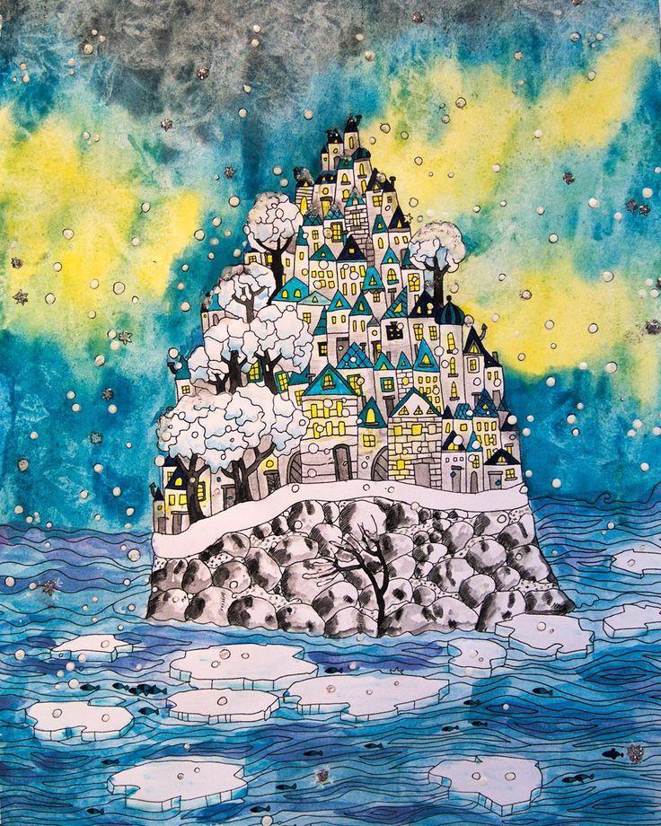 """""""Przez ostatnie dni pracowałam nad obrazkiem z kolorowanki """"Wyspy"""" - jak Wam sie podoba moja wersja ilustracji? Zgłosiłam swoją prace do konkursu opiekunie…"""""""