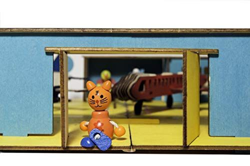 Play Means A DIY Airport – Made Out of Wooden , with Planes , Management Tower , a Runway and Little Picket Dolls -as Passengers, a playset for Kids and for The Complete Household, Massive, Gentle Wooden