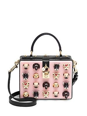 0f6bcb941f8 Dolce   Gabbana Dog Embellished Leather Box Bag