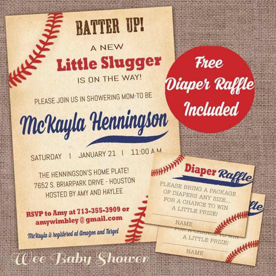 baseball baby shower invitation with diaper raffle card