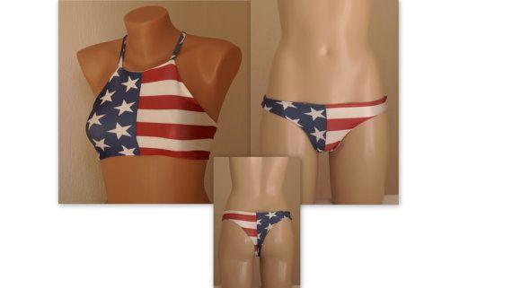 BS1552 PADDED American flag high neck halter bikini top and matching thong bottoms-Swimwear-4th July bikini-American flag bikini