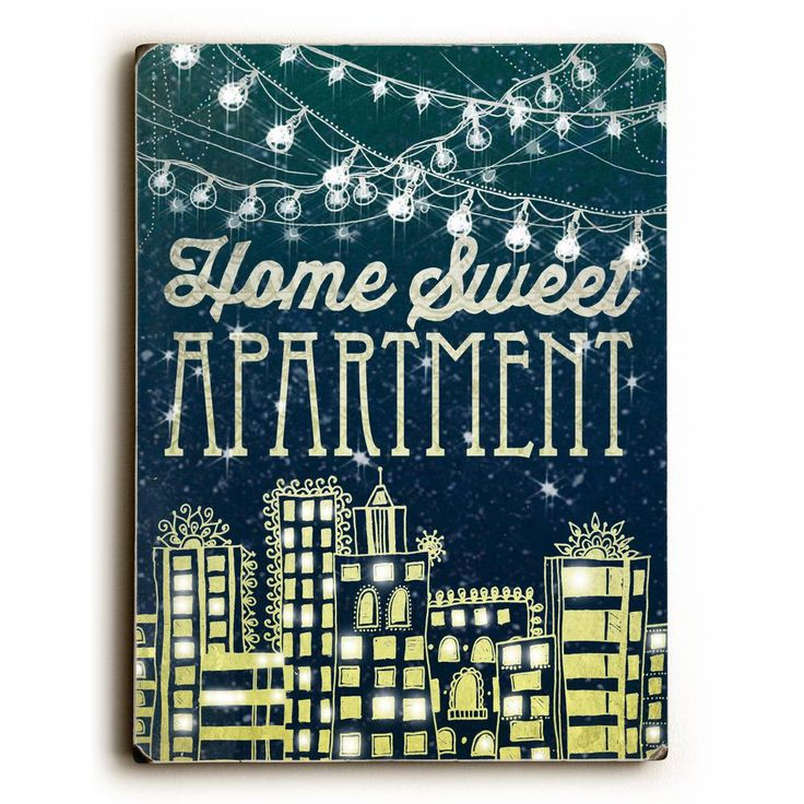 """9 in. x 12 in. """"Home Sweet Apartment"""" by Jennifer Lee Solid Wood Wall Art"""