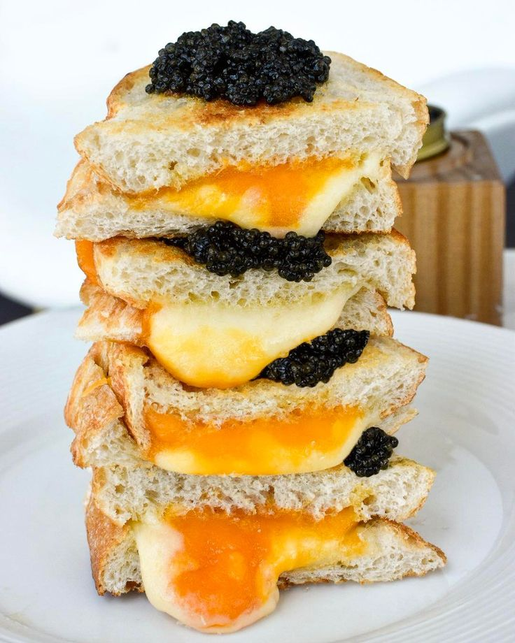 A caviar grilled cheese sandwich anyone? Made with melted gruyère and two types of cheddar: white and sharp. Don't forget to butter your bread on both sides for perfectly crisp crusts that taste delicious with our white sturgeon caviar.