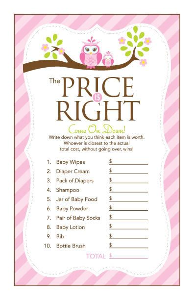 Instant Download Pink Owl Price Is Right Baby by Studio20Designs