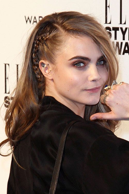 Cara Delevingne - side parted with braid <3