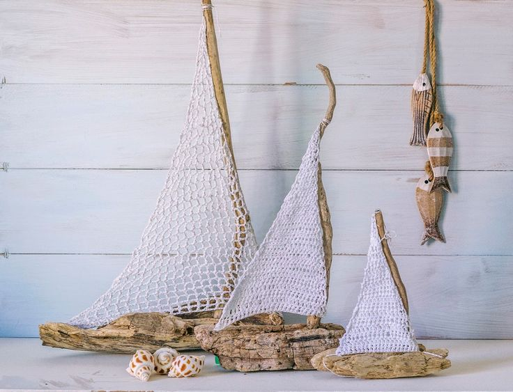 Driftwood and crochet sailboats