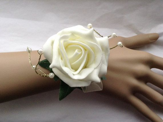 Large Wrist Corsage / Bracelet with rose and beaded by FlowerMix