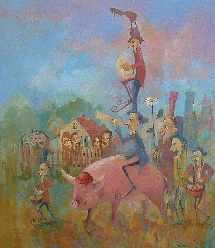 Orchestra 80x70cm, oil on canvas, for sale Krzysztof Lozowski www.artmajeur.com/lozowski