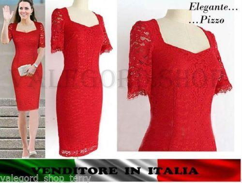 Vestito-ROSSO-tubino-pizzo-elegante-cerimonia-abito-anni-50-vintage-retro-dress